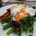 Roasted sweet potato, grilled halloumi, with a poached egg and greens