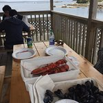 Amazing. Fresh lobster. Hot butter. Steamed mussels. Great deal and great view from the back por