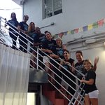 Massage therapists taking photo a Synergy Yoga Center, Miami Beach