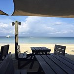 Beach Dining at Stew Fish ! Great for Breakfast too !