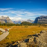 Looking back to Logan Pass, on the Hidden Lake hike.