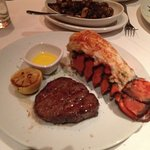 Filet mignon with lobster tail. Juicy lobster tail and great taste on steak-medium well.