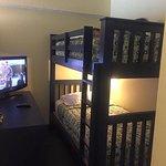 bunk beds. dark room