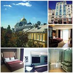 (Clockwise) View from room; hotel facade; room; bathroom; room; bed