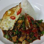 Chicken holi basil thai style with egg