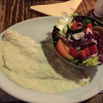 Sea Bass fillet in a mild horseradish sauce with mixed salad