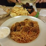The meatballs were kind of strange. They need to add more garlic and herbs to the sauce. too bla