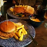 Buttermilk chicken burger. Perfectly juicy and seasoned to perfection, with chips and Mac & Chee