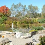 Waterfall, fountain, pond, beautiful foliage, sculptures