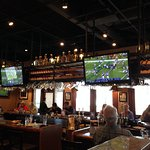 Vikings game viewable from the entire restaurant.