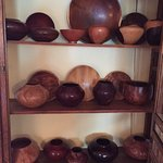 Turned wood vessels made by one of the proprietors, for sale. Gorgeous!
