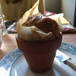 flowerpot warm bread