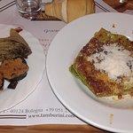 Lasagne. Contorno di melanzane e radicchio