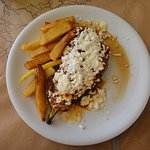 Grilled aubergine with tomatoes, meat sauce and feta cheese - fabulous