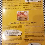 one of two pages of breakfast menu