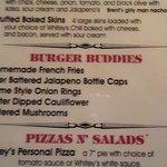 Whitey's Booze N' Burgers Menu