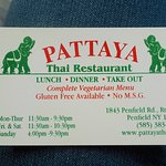 Pattaya Thai Restaurant Business card