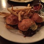 Short Rib Sliders - spicy heat, tender and juicy beef.We omitted the Blue Cheese Slaw. Fries=Gre