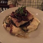 Delicious Wahoo with Onion and Mushroom topping, Pecan cheddar grits=Fantastic