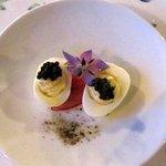 Quail eggs with Northern caviar