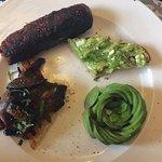 Lemon & garlic mushrooms, veggie sausage and avocado & feta toast! Delicious