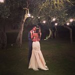 Setting for first dance outside with hanging lights