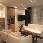 Living room in the king suite. I enjoyed the extra space. Clean modern rooms!