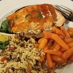 salmon on cedar plank with rice and carrots