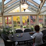 The sun room that looks out onto the garden off the guest lounge.