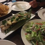 Our Barra transformed into dinner for $20/person including chips & salad = excellent!