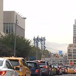 The hotel is on Adams Street - this is the traffic to get to the Brooklyn Bridge