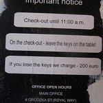 This is on the door. Note that 200 euro = 800 zloties.