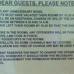 The VERY restrictive rules - seems management/owners need to research the concept of what hospit