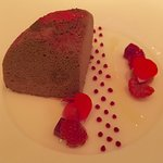 """Chocolate cake"" Frozen, raspberry, rose, beetroot, coffee"