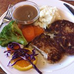 Lighter fare schnitzel with veggies and mashed potato. - veggies cooked perfectly