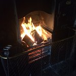 The welcoming fire in the Green Dragon Inn