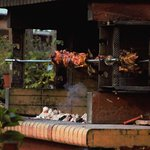The impressive grill cooking up that night's lamb special