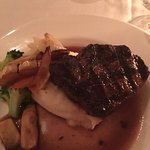 FILET MIGÑON GRILLED EIGHT OUNCE CHOICE CUT, BURGUNDY REDUCTION, SERVED WITH MASHED POTATOES