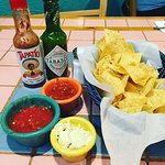 Chips, salsa, and dip.