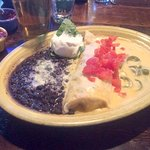 Jalapeno chicken enchilada and black beans