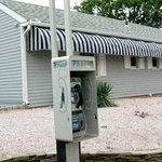 Pay phone in front of motel