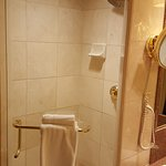 Separate stall shower with more Gold fixtures