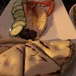 Mushroom flatbread, Hummus and Shrimp & Grits!