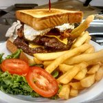 the Heart Attack; Full pound of 100% real beef, double bacon cheese burger with an egg, onion ri