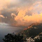 Sunrise looking down at Positano