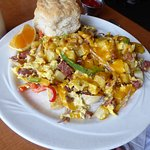 The German sausage scramble/omelet was enormous, so was the biscuit