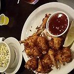 Coconut shrimp with large pasta salad.    Goof