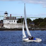 A mile offshore, beyond the reach of Newport's utility lines and services, the Rose Island Light