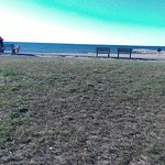 benches and picnic table area at shoreline