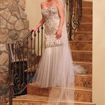 Bride on the stairs.